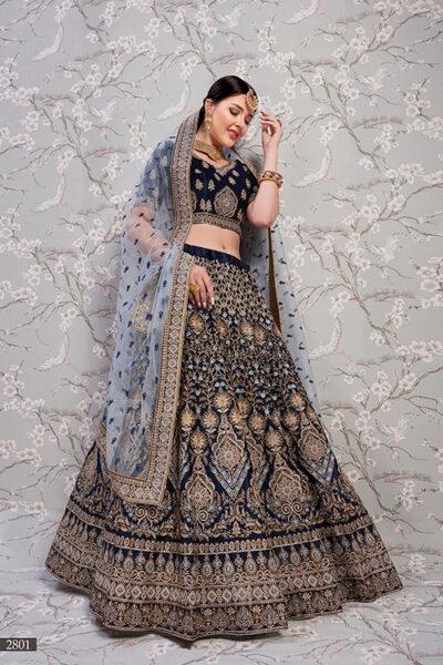 Navy Blue Exclusive Designer Lehenga Choli Collection