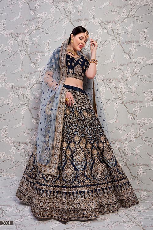 Navy Blue Exclusive Designer Lehenga Choli Collection (4)