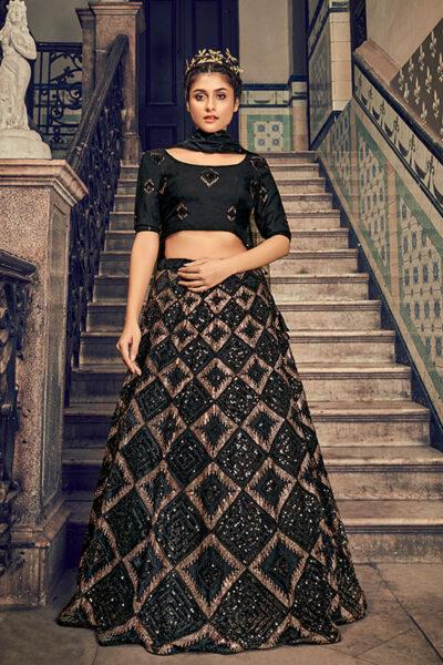 Black Net Embroidered Lehenga Choli with Dupatta Set Collection