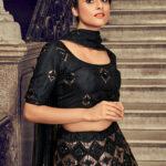 Black Net Embroidered Lehenga Choli with Dupatta Set Collection (1)