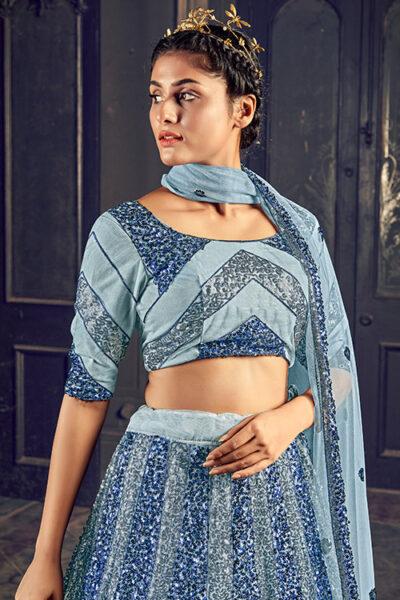 New Designer Grey Color Sequance Embroidered Lehenga Choli
