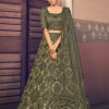 Olive Green Traditional Exclusive Embroidered Bridal Lehenga Choli