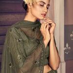 Olive Green Traditional Exclusive Embroidered Bridal Lehenga Choli 1
