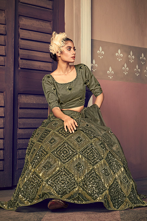 Olive Green Traditional Exclusive Embroidered Bridal Lehenga Choli 3