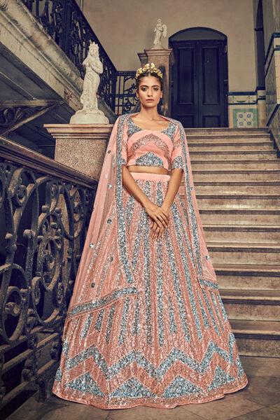 Peach Net Fabric Embroidered Lehenga Choli with Dupatta Set