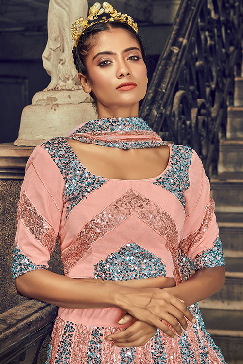 Peach Net Fabric Embroidered Lehenga Choli with Dupatta Set (2)