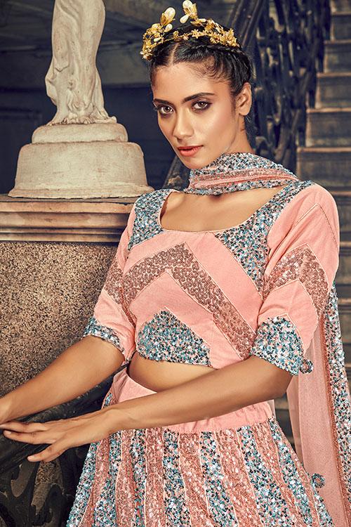 Peach Net Fabric Embroidered Lehenga Choli with Dupatta Set (3)