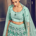 Turquoise Blue Exclusive Sequance Embroidered Bridal Lehenga Choli (1)