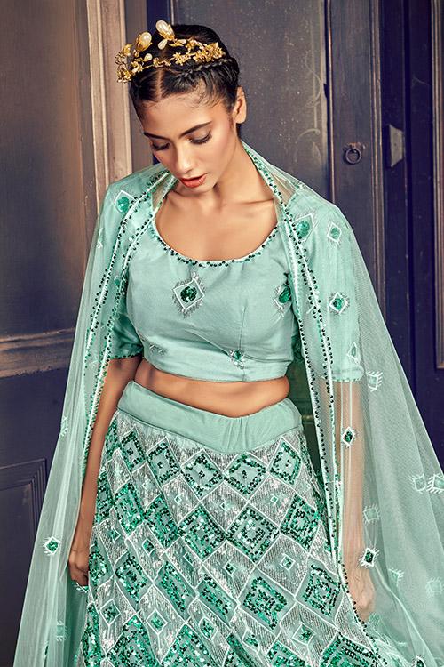 Turquoise Blue Exclusive Sequance Embroidered Bridal Lehenga Choli (2)