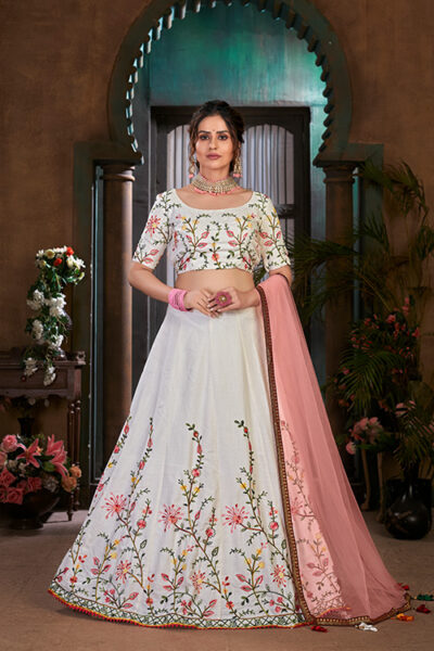 White with Peach Thread Embroidered Lehenga Choli Collection