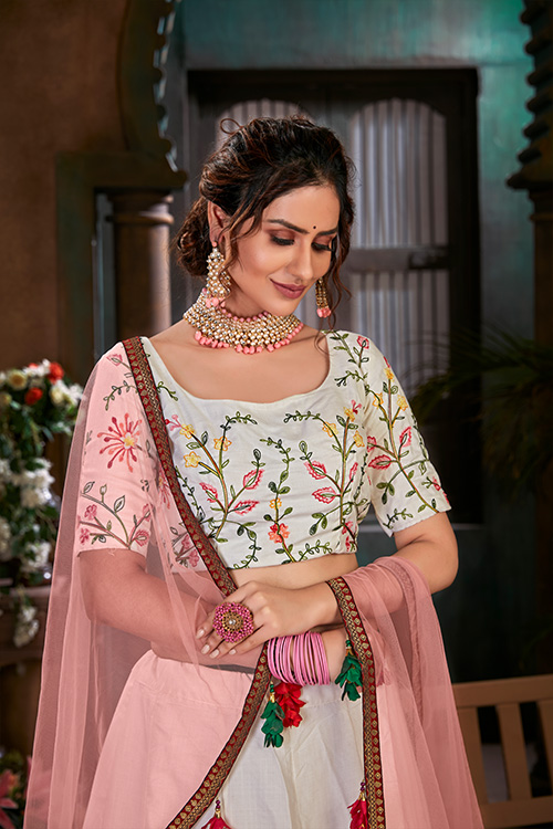 White with Peach Thread Embroidered Lehenga Choli Collection (2)