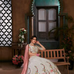 White with Peach Thread Embroidered Lehenga Choli Collection (1)