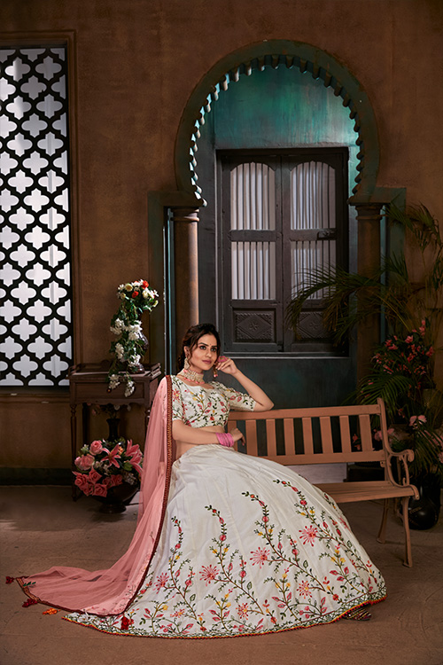 White with Peach Thread Embroidered Lehenga Choli Collection (3)