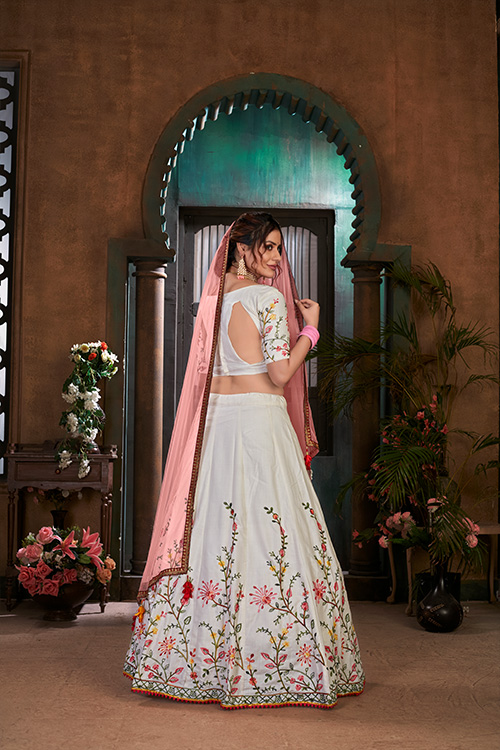 White with Peach Thread Embroidered Lehenga Choli Collection (4)